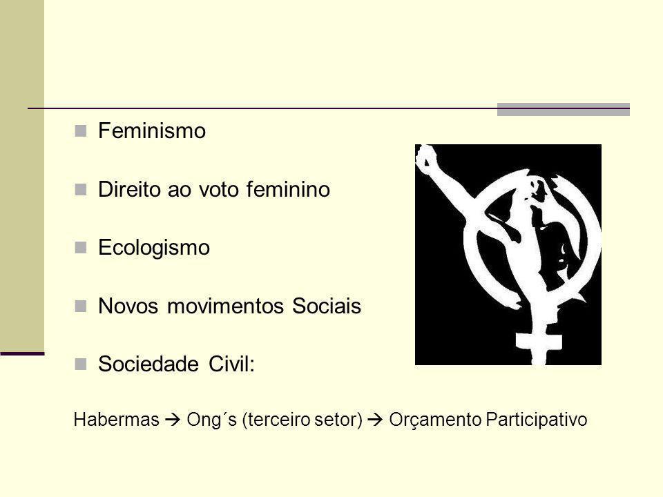 Direito ao voto feminino Ecologismo Novos movimentos Sociais