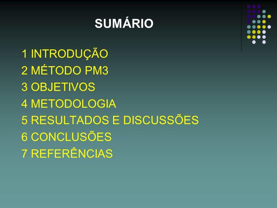 SUMÁRIO 1 INTRODUÇÃO 2 MÉTODO PM3 3 OBJETIVOS 4 METODOLOGIA