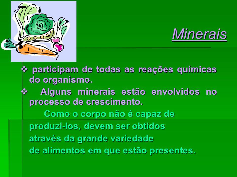 Minerais  participam de todas as reações químicas do organismo.