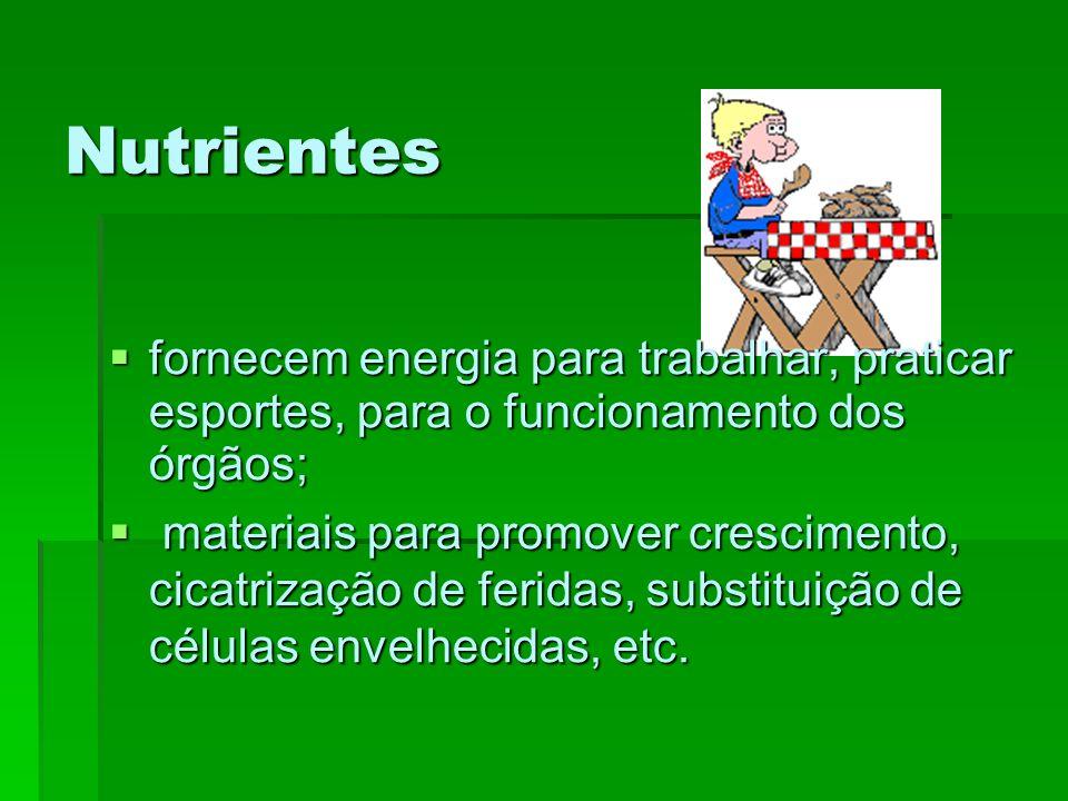 Nutrientes fornecem energia para trabalhar, praticar esportes, para o funcionamento dos órgãos;