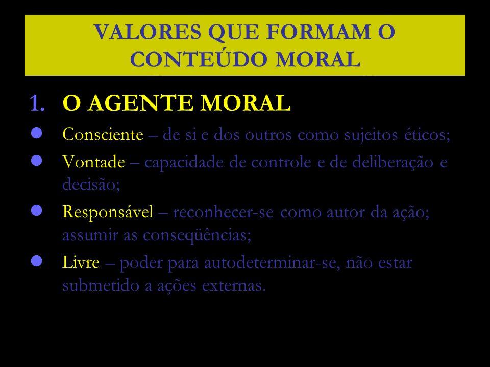 VALORES QUE FORMAM O CONTEÚDO MORAL