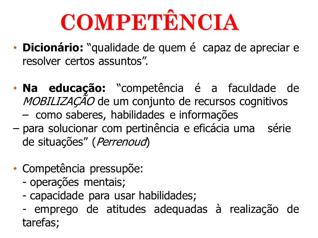 COMPETÊNCIA Dicionário: qualidade de quem é capaz de apreciar e resolver certos assuntos .