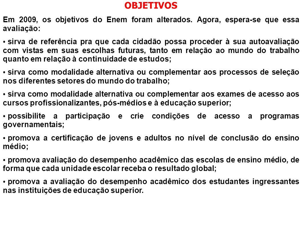 OBJETIVOS Em 2009, os objetivos do Enem foram alterados. Agora, espera-se que essa avaliação: