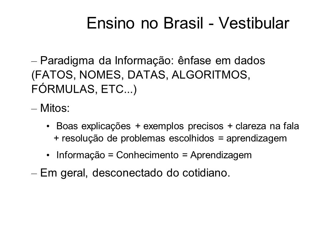 Ensino no Brasil - Vestibular