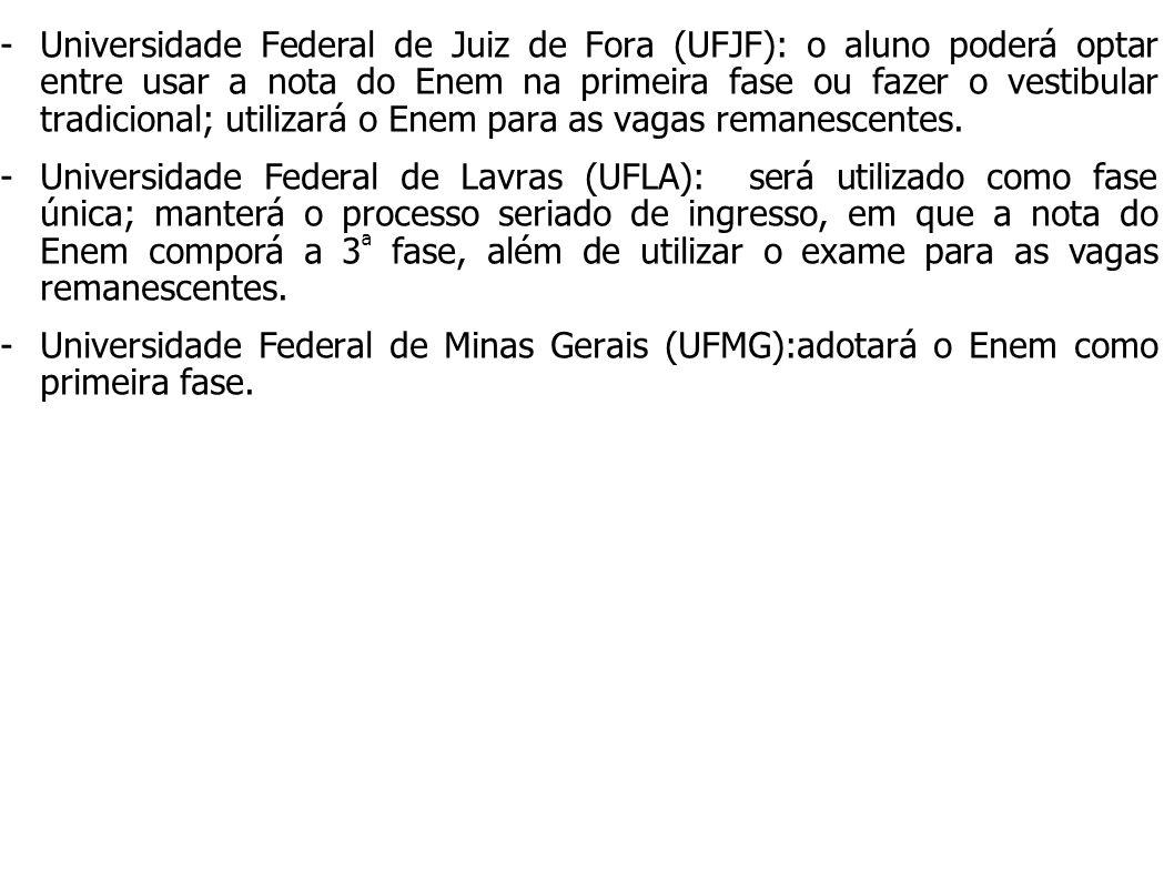 Universidade Federal de Juiz de Fora (UFJF): o aluno poderá optar entre usar a nota do Enem na primeira fase ou fazer o vestibular tradicional; utilizará o Enem para as vagas remanescentes.