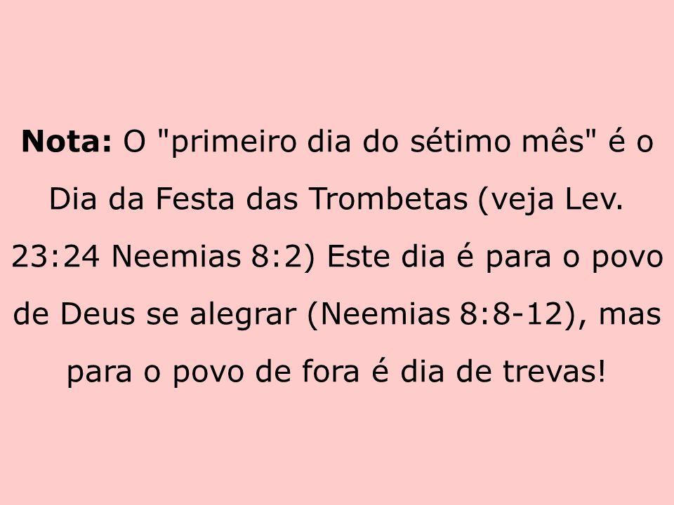 Nota: O primeiro dia do sétimo mês é o Dia da Festa das Trombetas (veja Lev.