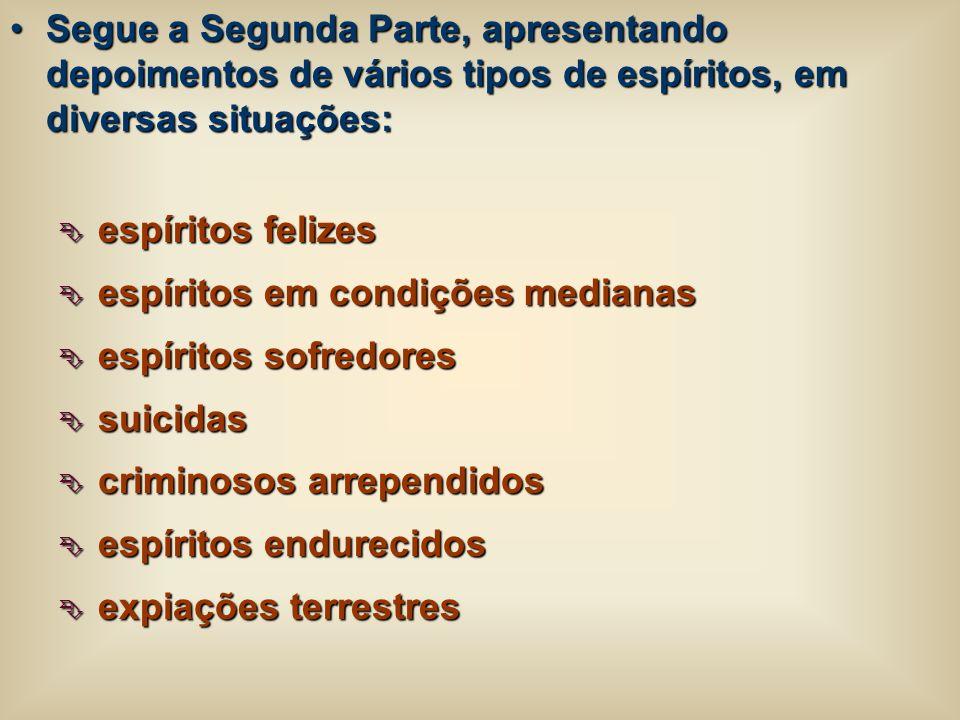 Segue a Segunda Parte, apresentando depoimentos de vários tipos de espíritos, em diversas situações: