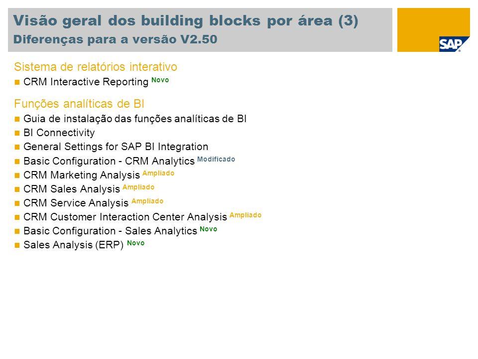 Visão geral dos building blocks por área (3) Diferenças para a versão V2.50