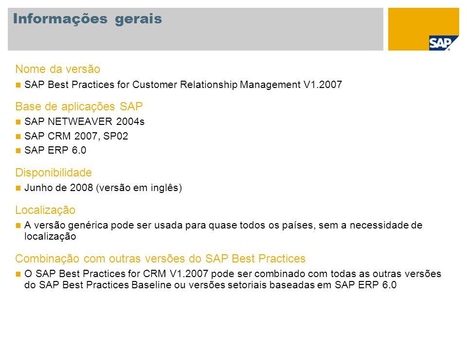 Informações gerais Nome da versão Base de aplicações SAP