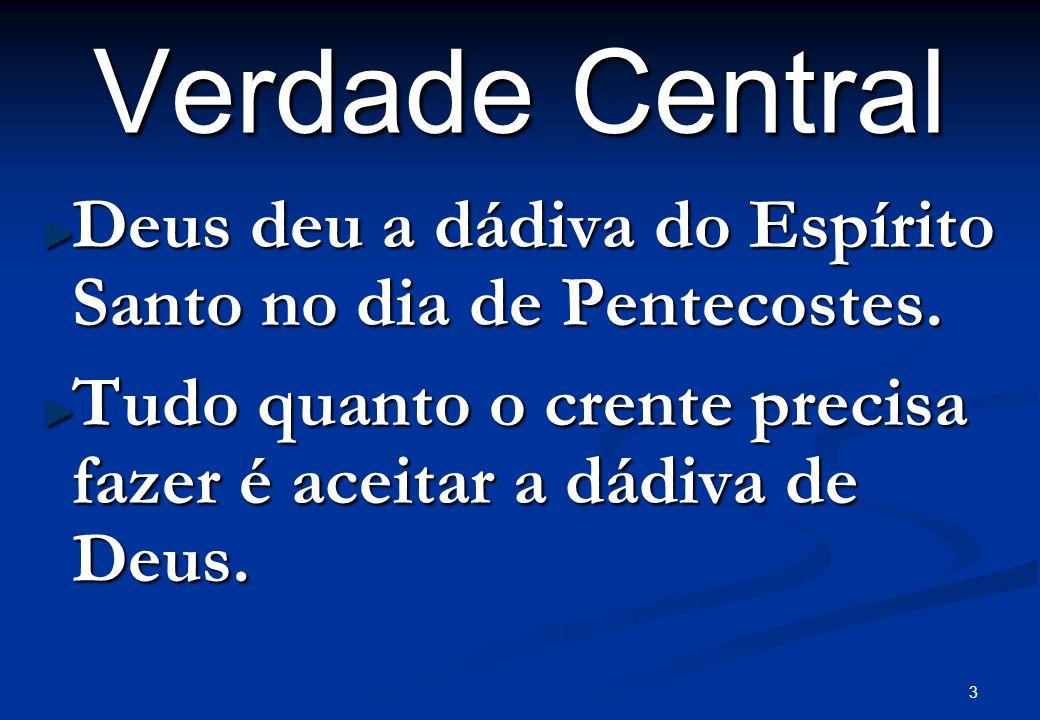 Verdade Central Deus deu a dádiva do Espírito Santo no dia de Pentecostes.