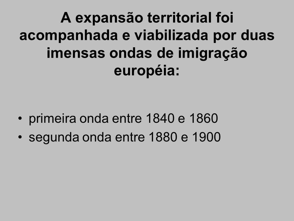 A expansão territorial foi acompanhada e viabilizada por duas imensas ondas de imigração européia: