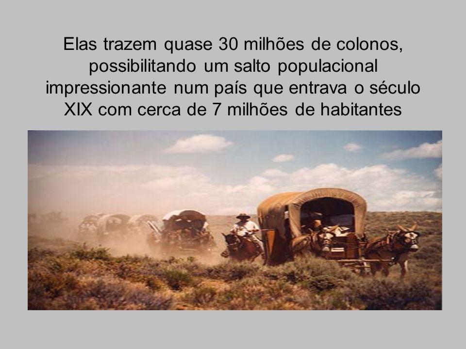 Elas trazem quase 30 milhões de colonos, possibilitando um salto populacional impressionante num país que entrava o século XIX com cerca de 7 milhões de habitantes