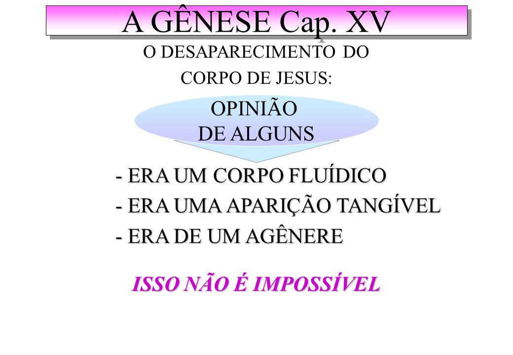 A GÊNESE Cap. XV OPINIÃO DE ALGUNS - ERA UM CORPO FLUÍDICO