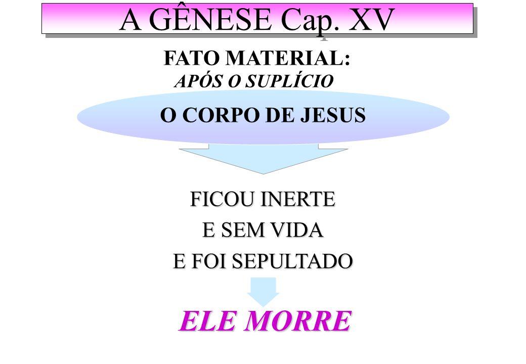 A GÊNESE Cap. XV ELE MORRE FATO MATERIAL: O CORPO DE JESUS