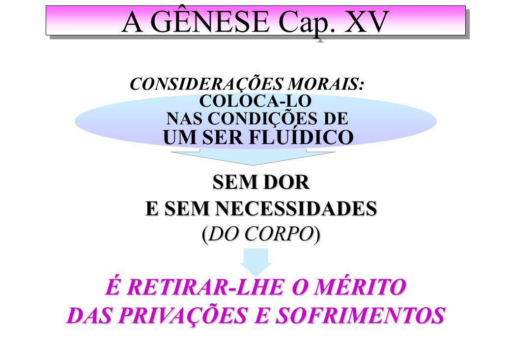 A GÊNESE Cap. XV É RETIRAR-LHE O MÉRITO DAS PRIVAÇÕES E SOFRIMENTOS