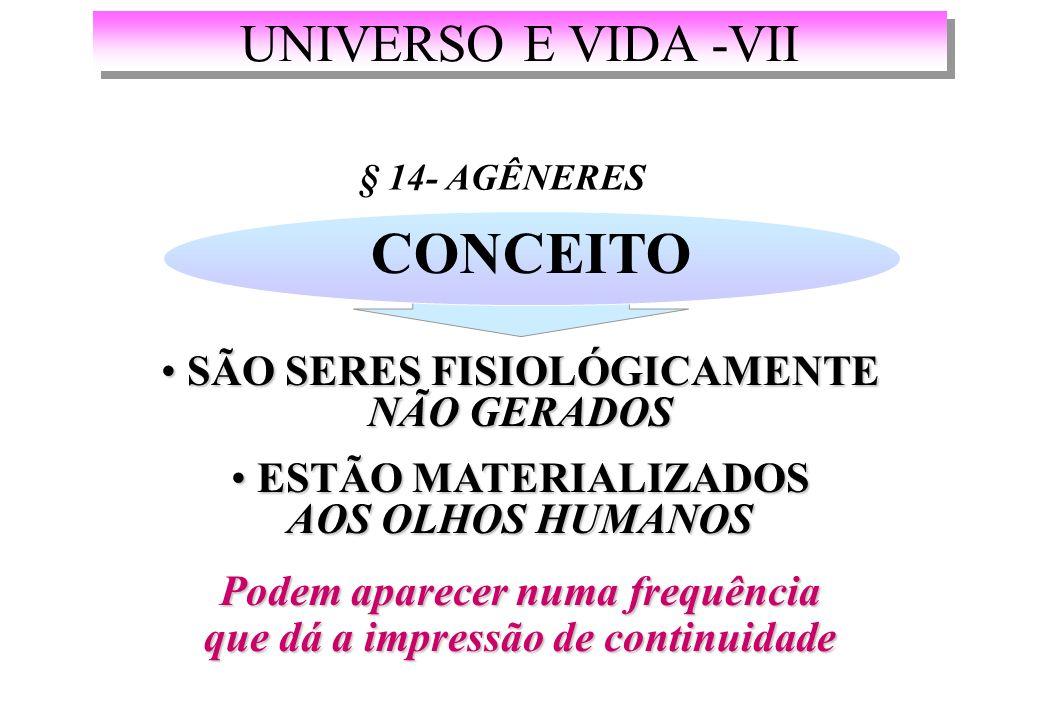 CONCEITO UNIVERSO E VIDA -VII SÃO SERES FISIOLÓGICAMENTE NÃO GERADOS