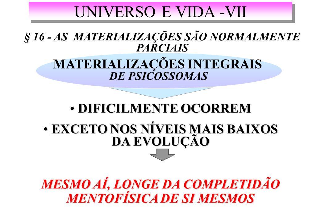UNIVERSO E VIDA -VII MATERIALIZAÇÕES INTEGRAIS DIFICILMENTE OCORREM