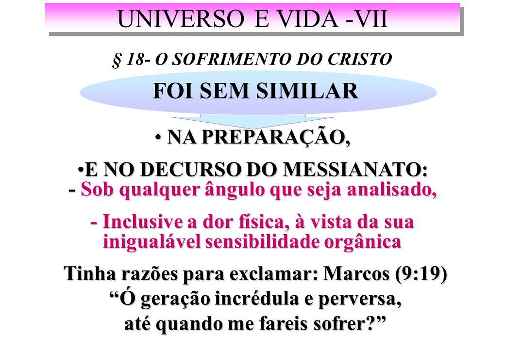 UNIVERSO E VIDA -VII FOI SEM SIMILAR NA PREPARAÇÃO,