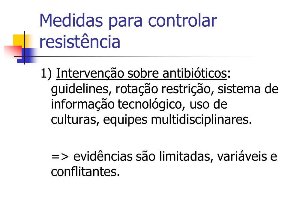 Medidas para controlar resistência