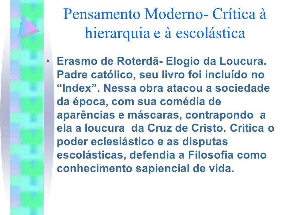 Pensamento Moderno- Crítica à hierarquia e à escolástica