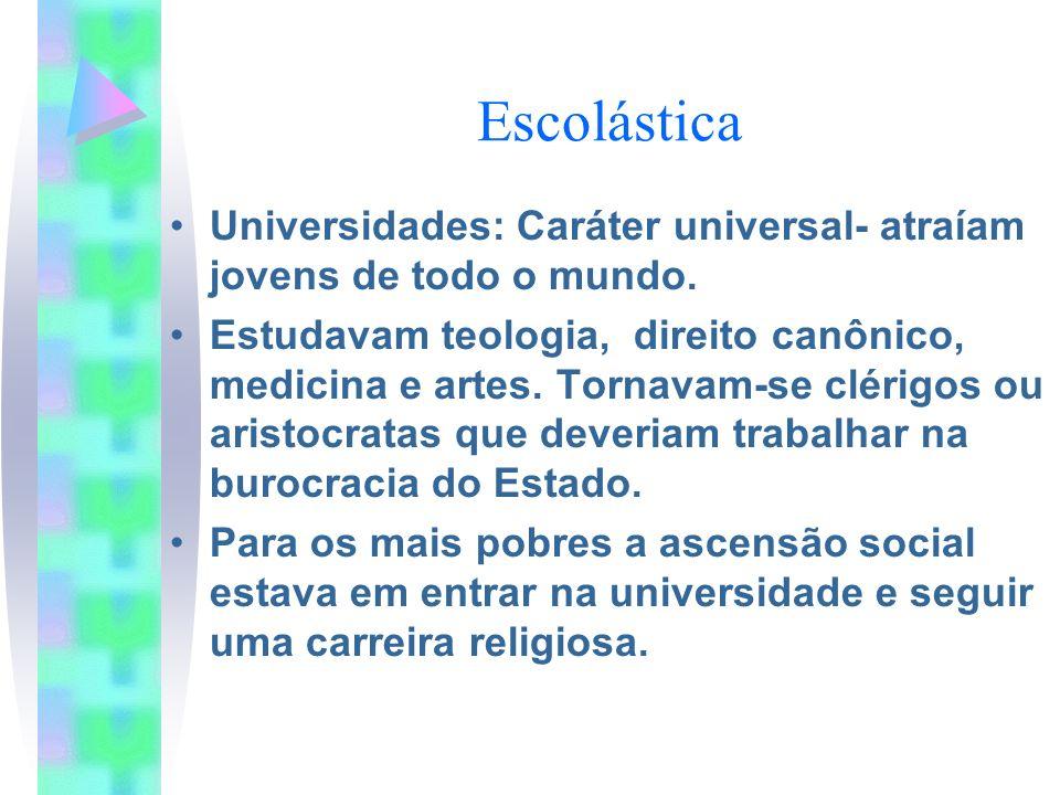 Escolástica Universidades: Caráter universal- atraíam jovens de todo o mundo.