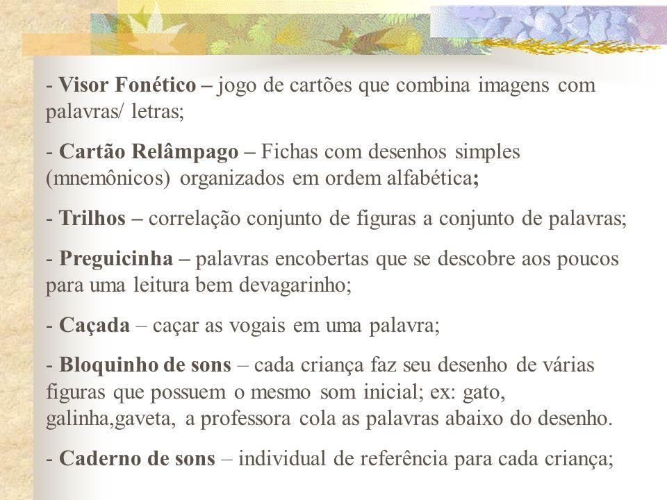 Visor Fonético – jogo de cartões que combina imagens com palavras/ letras;
