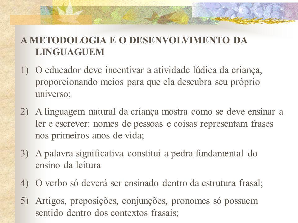 A METODOLOGIA E O DESENVOLVIMENTO DA LINGUAGUEM