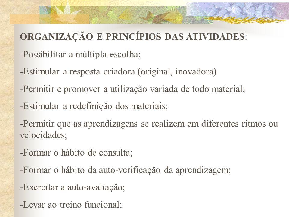 ORGANIZAÇÃO E PRINCÍPIOS DAS ATIVIDADES: