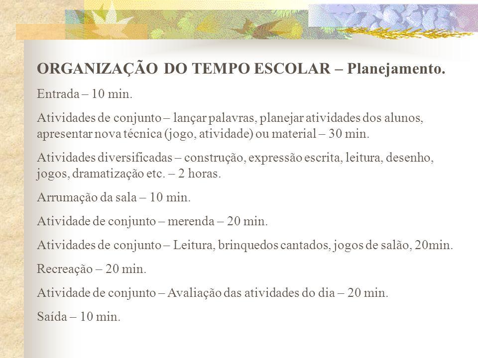 ORGANIZAÇÃO DO TEMPO ESCOLAR – Planejamento.