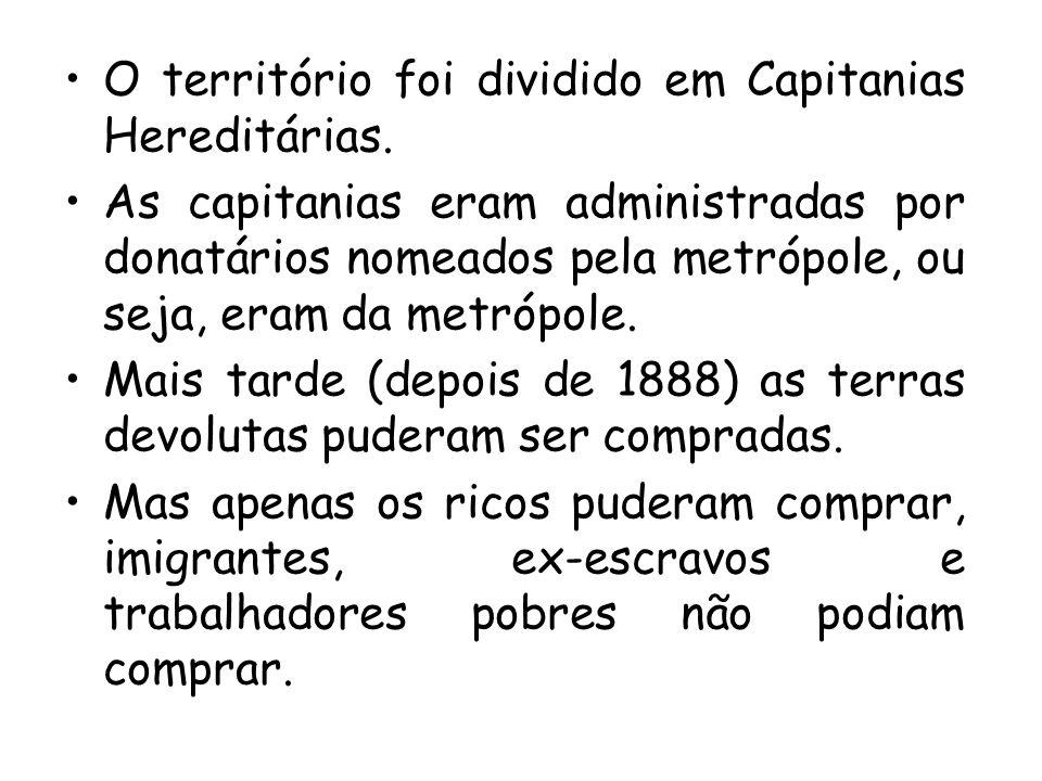 O território foi dividido em Capitanias Hereditárias.
