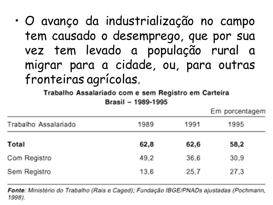 O avanço da industrialização no campo tem causado o desemprego, que por sua vez tem levado a população rural a migrar para a cidade, ou, para outras fronteiras agrícolas.