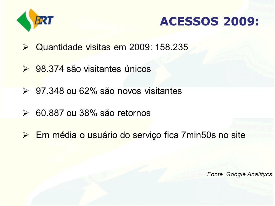 ACESSOS 2009: Quantidade visitas em 2009: 158.235