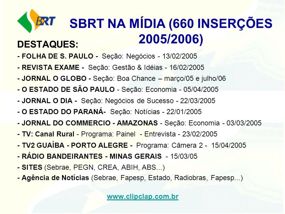 SBRT NA MÍDIA (660 INSERÇÕES 2005/2006)