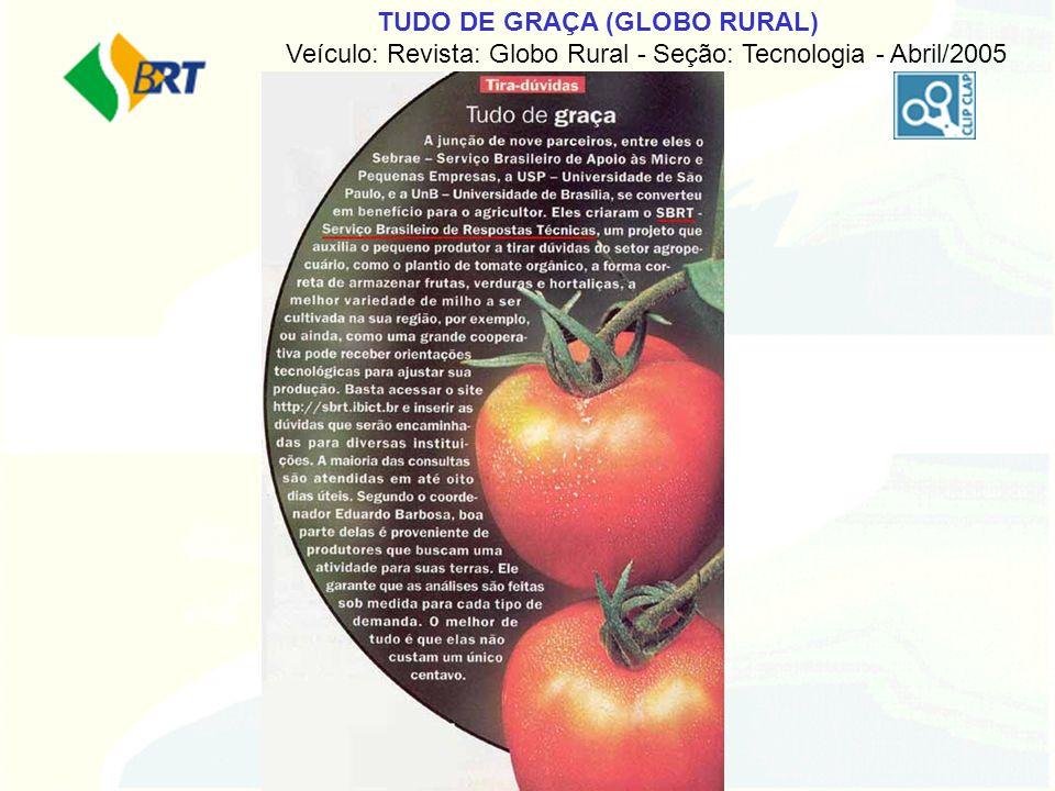 TUDO DE GRAÇA (GLOBO RURAL) Veículo: Revista: Globo Rural - Seção: Tecnologia - Abril/2005