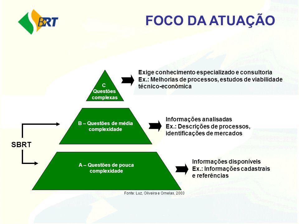 FOCO DA ATUAÇÃOExige conhecimento especializado e consultoria Ex.: Melhorias de processos, estudos de viabilidade técnico-econômica.