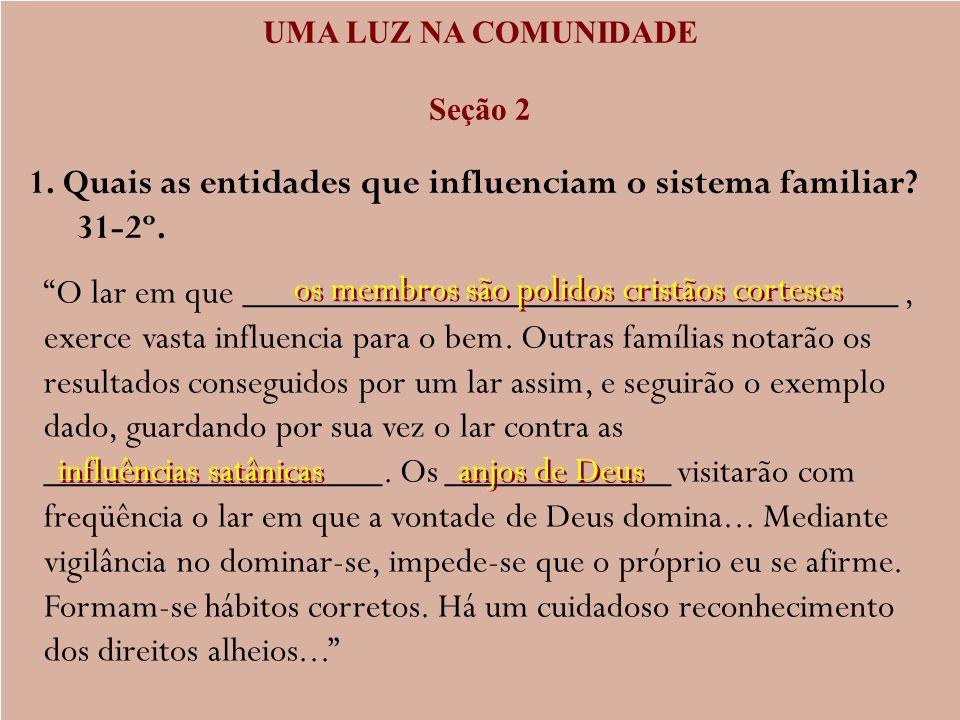 1. Quais as entidades que influenciam o sistema familiar 31-2º.