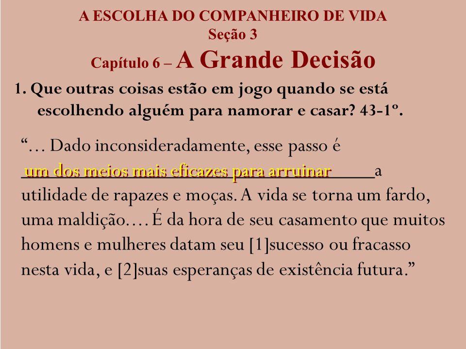 A ESCOLHA DO COMPANHEIRO DE VIDA Capítulo 6 – A Grande Decisão