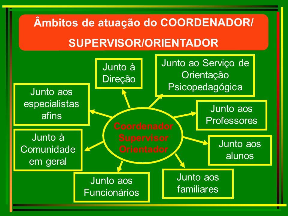 Âmbitos de atuação do COORDENADOR/ SUPERVISOR/ORIENTADOR