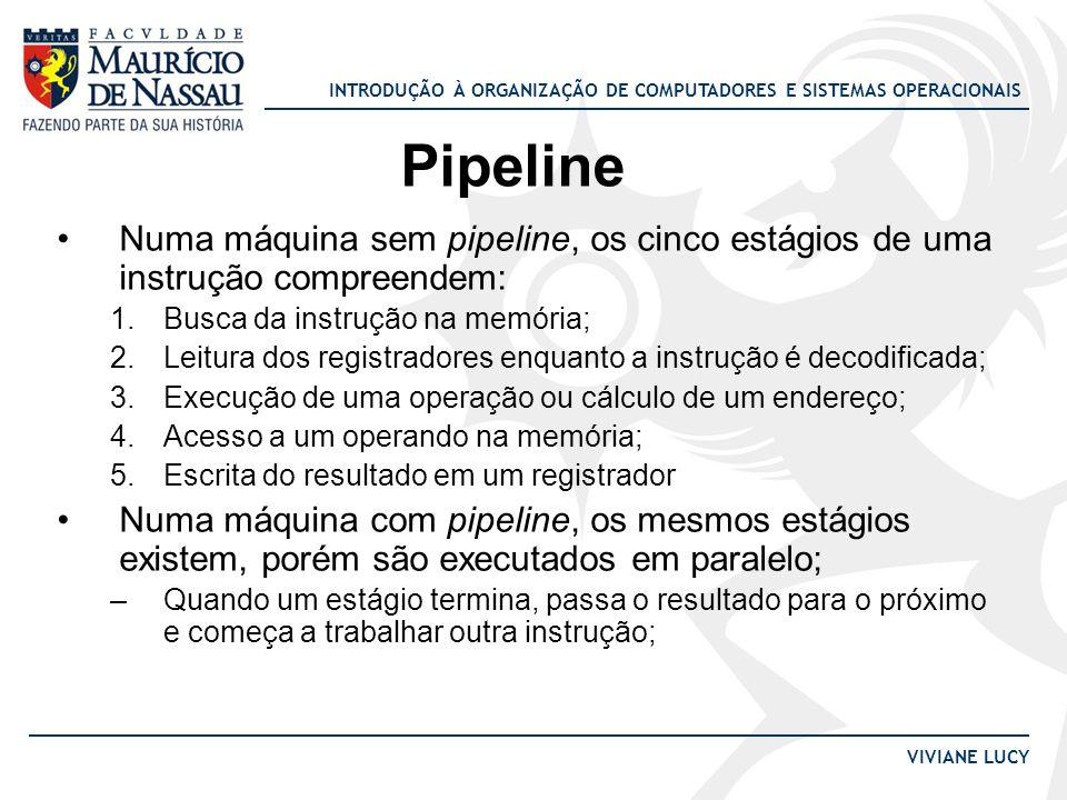 Pipeline Numa máquina sem pipeline, os cinco estágios de uma instrução compreendem: Busca da instrução na memória;
