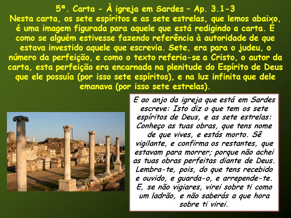 5ª. Carta - À igreja em Sardes – Ap. 3.1-3