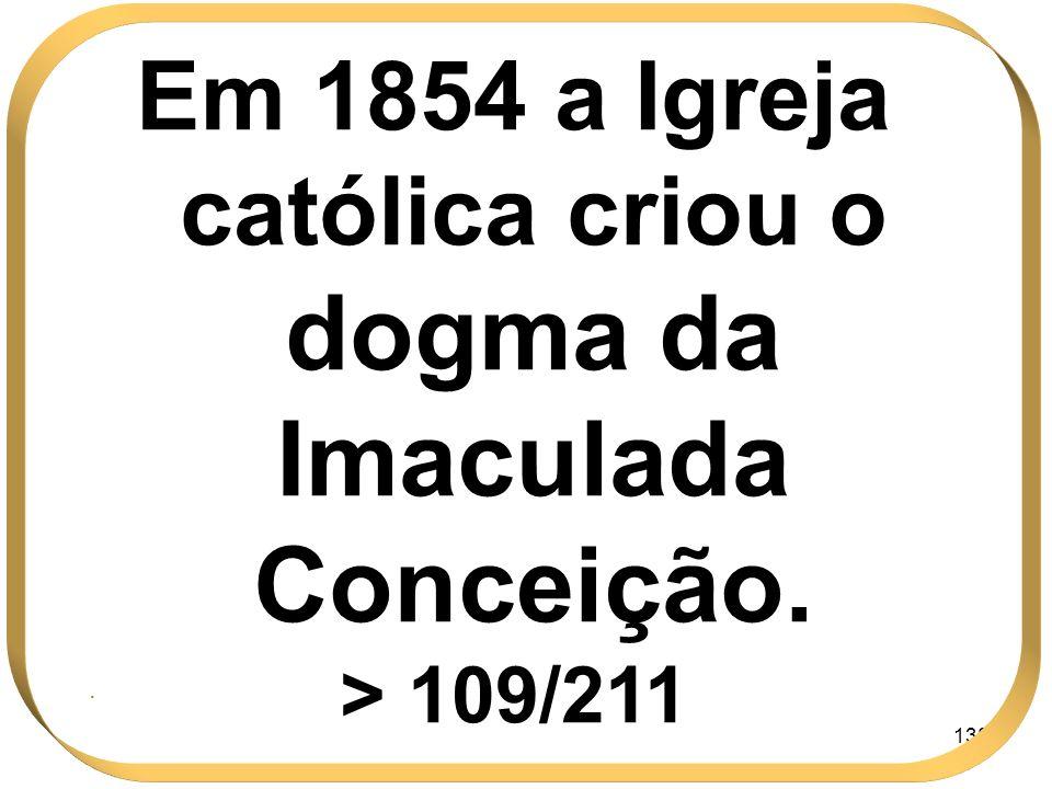 Em 1854 a Igreja católica criou o dogma da Imaculada Conceição.