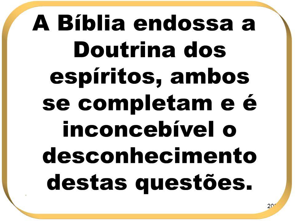 A Bíblia endossa a Doutrina dos espíritos, ambos se completam e é inconcebível o desconhecimento destas questões.