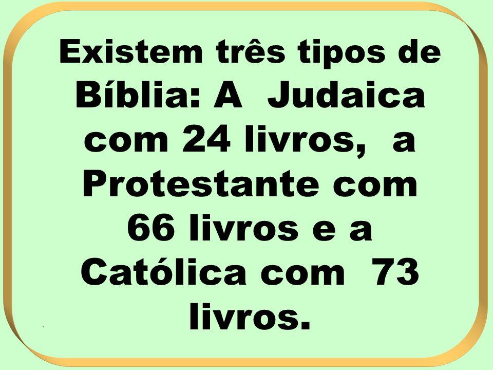 Existem três tipos de Bíblia: A Judaica com 24 livros, a Protestante com 66 livros e a Católica com 73 livros.