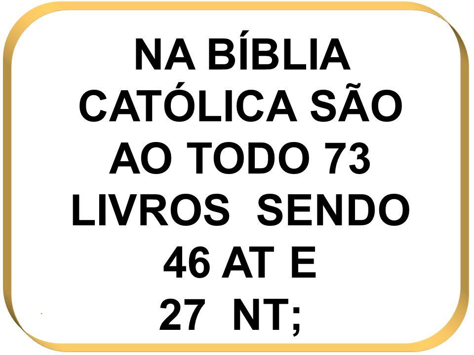 NA BÍBLIA CATÓLICA SÃO AO TODO 73 LIVROS SENDO 46 AT E