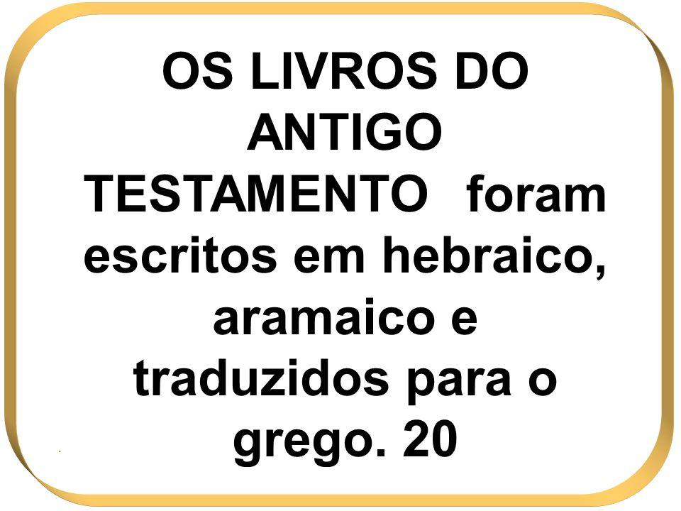 OS LIVROS DO ANTIGO TESTAMENTO