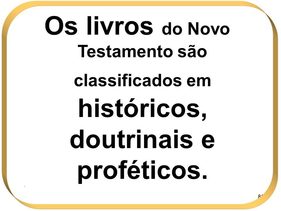 Os livros do Novo Testamento são classificados em históricos, doutrinais e proféticos.