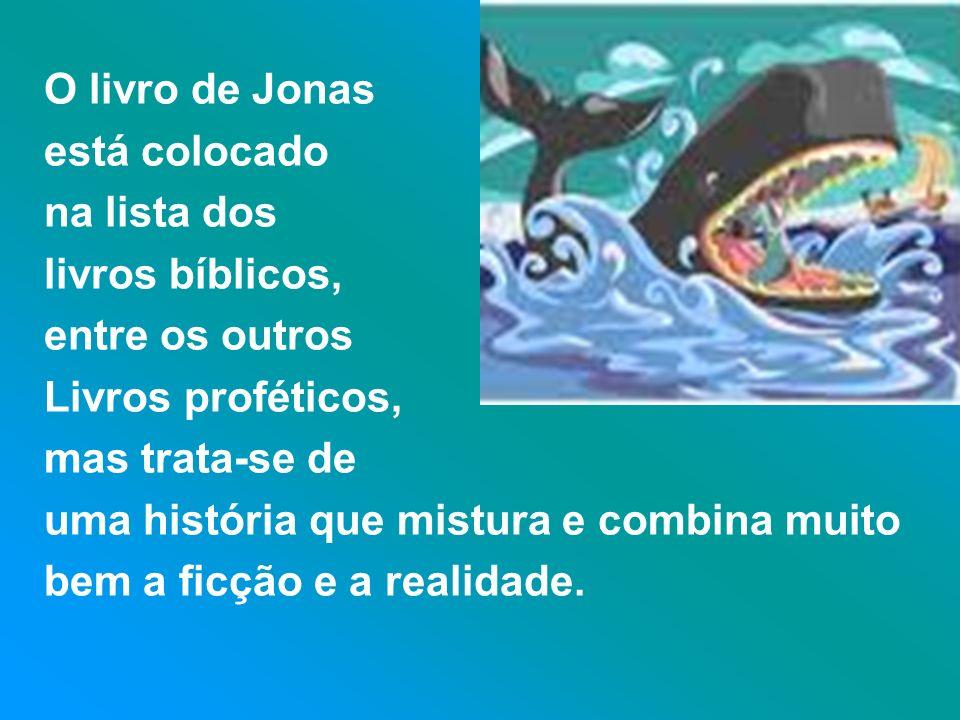 O livro de Jonas está colocado. na lista dos. livros bíblicos, entre os outros. Livros proféticos,