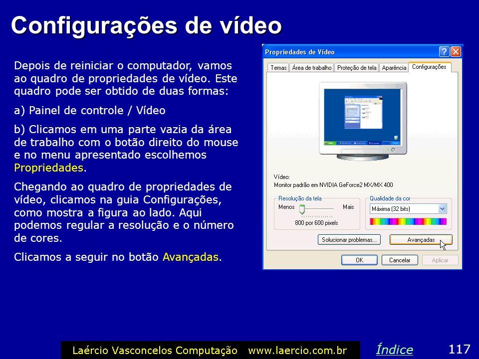 Configurações de vídeo
