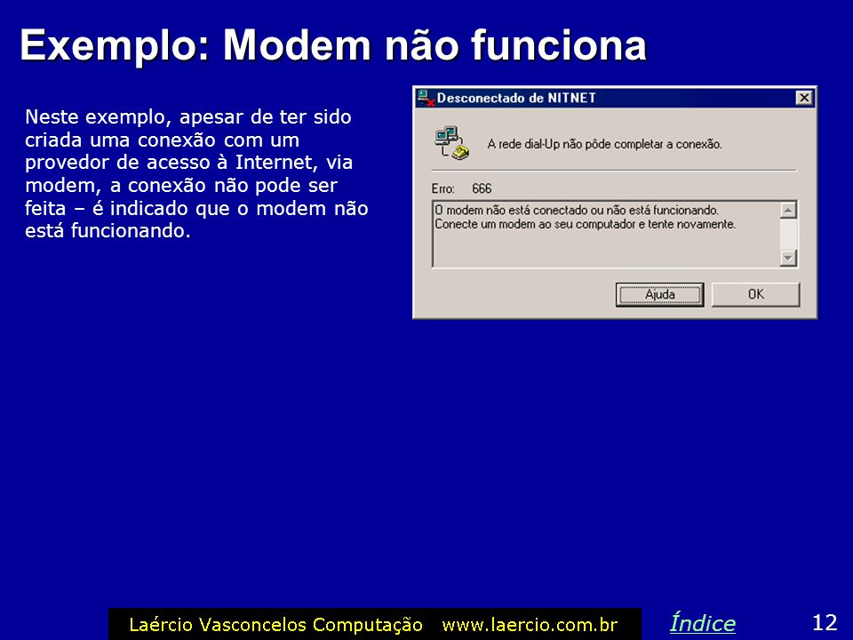 Exemplo: Modem não funciona
