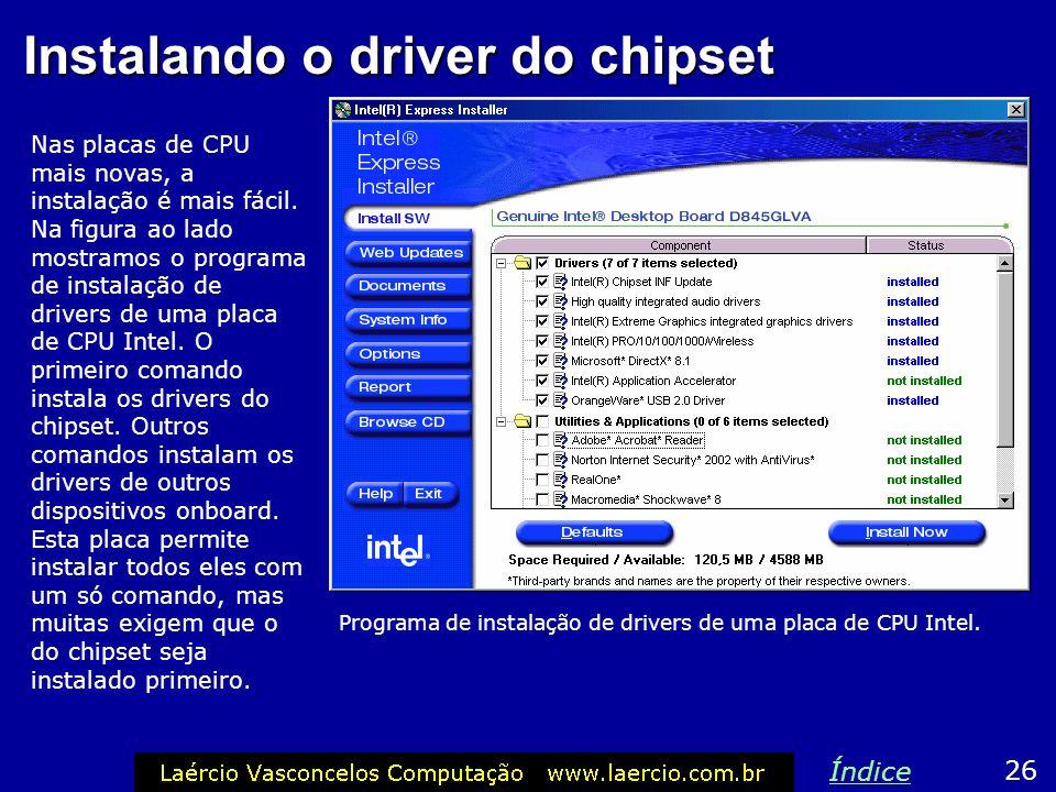 Instalando o driver do chipset